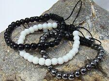 3 Women's Shamballa bracelets black glass hematite white alabaster all 6mm beads