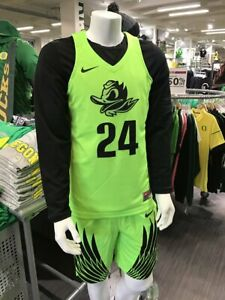 NWT mens S/small nike oregon ducks basketball #24 sewn authentic jersey electric