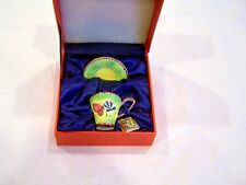 Charlotte Di Vita miniature tea cup & saucer, green with butterflies, c. 2004