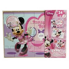 DISNEY MINNIE MOUSE BOW-TIQUE GIRLS 3 WOOD PUZZLES PLAY SET