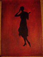"HUGE WOMAN SILHOUETTE ART OIL PAINTING 24x36"" BARGAIN"