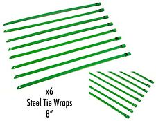 "QTY 6 8"" UNIVERSAL STAINLESS STEEL ZIP TIE CABLE FOR EXHAUST HEADER WRAP GREEN"