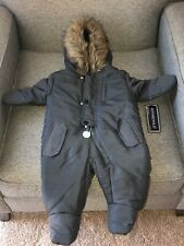 Rothschild 6-9 months Infant Footed Snowsuit Faux Fur Hood Charcoal - NWT!