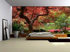Gigante Papel Pintado 368x254cm floración Rojo árbol Mural de Pared Dormitorio