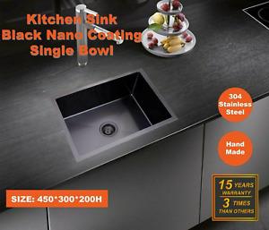 450*300*200 Kitchen Sink Laundry Handmade Black Nano Stainless Steel Single Bowl
