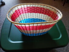 NOS Vintage Plastic Wicker White Red and Blue Large Bicycle Moped Bike Basket