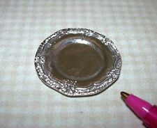 Miniature Pretty ROUND Silver Tray or Charger #4, for DOLLHOUSE  1/12 Scale