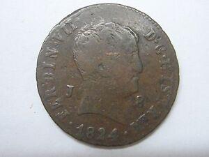 1824 FERDINAND VII 8 MARAVEDIS JUBIA SPANISH SPAIN
