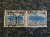 SOUTH AFRICA POSTAGE STAMPS SG39 PAIR 10/- BLUE/BROWN FINE USED