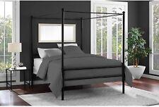 Full Size Canopy Bed Frame Black Metal Finish Slat Base Modern Bedroom Furniture