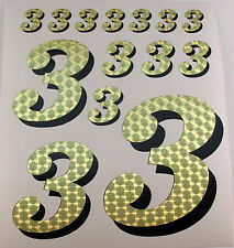 Racing Numbers Number 3 Decal Sticker Pack Gold Black for 1/8 1/10 RC models S01