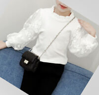 Blouse Girls Top Shirt Lace Autumn Winter Long Sleeve White Age 3-12 years