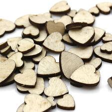 60x/lot Wooden Mix 4Size Heart Love Embellishments DIY Scrapbook Art Crafts