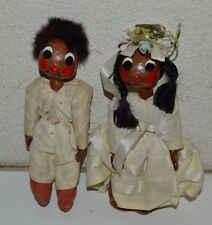 Vintage Crude Handmade Spanish / Mexican Couple Wedding Husband Wife Dolls Rare