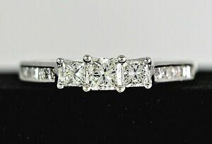 $2,550 14K White Gold Past Present Future Princess Diamond Engagement Ring Band