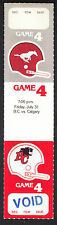 Calgary Stampeders vs BC Lions July 31 1981 Unissued Voided Ticket