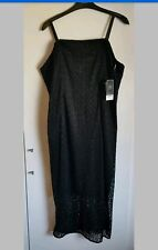BNWT NEXT Premium Tall Black Tailored Corset Lace Dress Size UK 14 - RRP £100