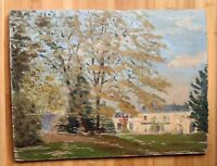 """Oil on Board Painting """"Country Estate"""" Original New England Vintage Art"""