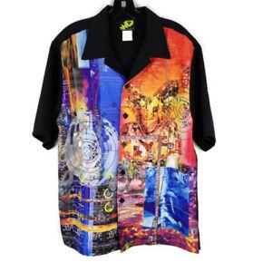 Street Savy Worm Gear Reducer Graphics Vintage 90s Camp Shirt Hawaiian Size L