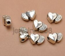 20pcs Tibetan Siver Big Hole Double Heart Charms Spacer Bead 12X8MM F3351