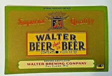 """Walter Beer """"Beer That Is Beer"""", Walter Brewing Co., Eau Claire, WI 12oz IRTP"""