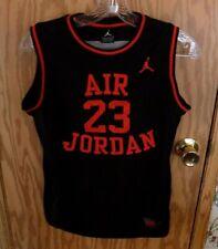 Boys Jersey Air Jordan Basketba 00006000 ll Tank Black Red #23 Sleeveless Sewn On Sz L