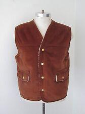 Vgc Vtg 70s Brown Velour Western Outerwear Vest Sherpa Lining Snaps Pockets M