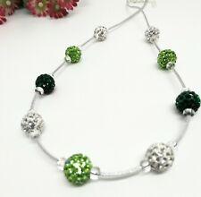 Kette grün smaragd weiß bunt Strass Perlen Band silber Collier schwebend 46,5cm
