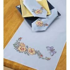 YELLOW ROSES on BLUE TABLE RUNNER & NAPKINS Cross Stitch KIT  NEW