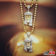 14k Gold Finish .925 Silver Double Jesus Piece Chain Set Mens Hip Hop Fashion