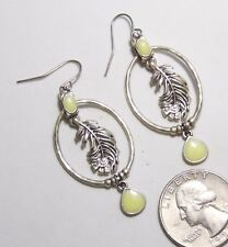 Pierced Earrings, Detailed Feather Plume in Loop Dangle, Cream Enamel Accents ST