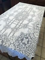 """Vintage Off White Lace Floral Pattern Oblong Home Decor Tablecloth Cover 52""""x84"""""""