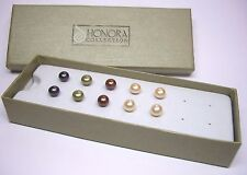 HONORA 5 PAIR OF 7MM BUTTON PEARL EARRINGS STERLING SILVER 925 COLORS SHOWN