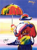 PETER MAX POSTER- UMBRELLA MAN COOL AND COLORFUL FACSIMILE SIGNED CT#106