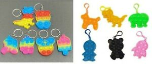 Rainbow and plain pop it bubble keyrings Autuism Sensory Special needs