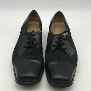 Ferragamo Black Leather And Fabric Lace Up Oxfords Size 39/US9