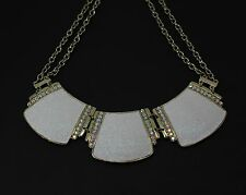 Style & Co Gold Tone White Glitter Paper Double Chain Frontal Necklace