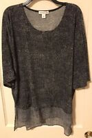 Coldwater Creek black and grey printed slinky top Size Medium dolman 3/4 sleeves