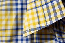 Façonnable M Gentleman's Blue & Yellow Check Long-Sleeve Cotton Shirt - $186.00
