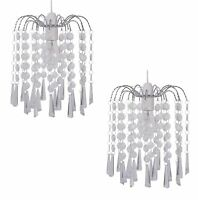 PAIR OF CLEAR ACRYLIC CRYSTAL DROPS CHANDELIER CEILING LIGHT SHADE PENDANT SHADE