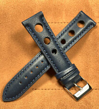 Leather Strap Vintage Large Holes Navy Blue Watch Band Fits Rolex Quick Change