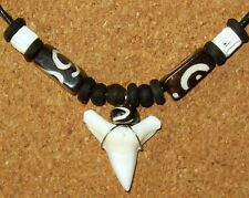 MAKO SHARK TOOTH NECKLACE REAL TEETH BLACK WOOD FISH BONE BEADS mens surfer boy