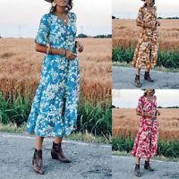 ZANZEA UK Women Baggy Short Sleeve Maxi Dress Floral Holiday Bohemia Wrap Dress
