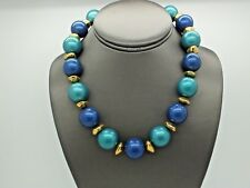 VINTAGE  AVON LARGE BLUE TEAL FAUX PEARL GOLD TONE BEAD NECKLACE