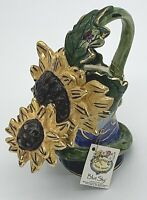 """Blue Sky 2002 Heather Goldminc Sunflower and Ladybug Pitcher Watering Can 5-1/2"""""""