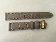 18mm Grey Leather Band with yellow Gold Buckle For Omega Watch