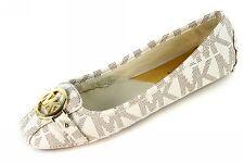 Michael Kors Flats MK Shoes Fulton Moc Signature Leather Vanilla Size 7