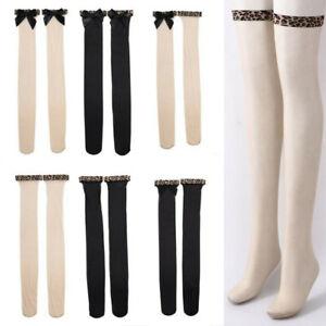 Women Thigh High Silky Beauty Socks Pantyhose Stockings Bowknot Decor Ultra Thin