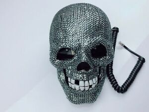 blingUstyle New Grey crystal skull design real telephone home office and gift