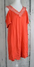 As U Wish Juniors' Cold-Shoulder Shift Dress Tunic Loose V-Neck Orange Large L